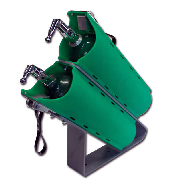 Twin Slide-out D Cylinder Brackets with Mounting Stand