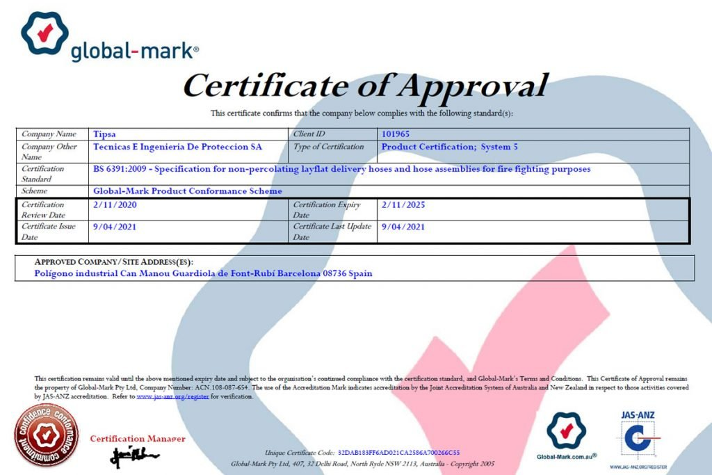 TIPSA obtains Certificate of Approval by Global Mark